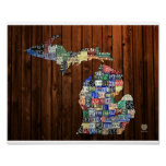Michigan Counties Vintage License Plate Map 8 x 10 Print