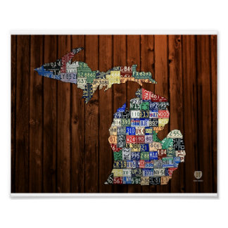 Michigan Counties Vintage License Plate Map 8 x 10 Poster