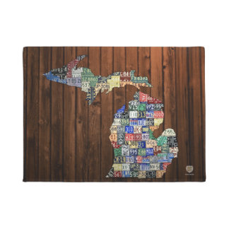 Michigan Counties Vintage License Plate Map Doormat