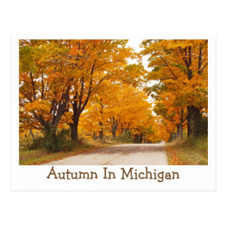 """""""MICHIGAN COUNTRY ROAD ALL AGLOW WITH FALL COLOR"""" POSTCARD"""