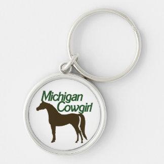 Michigan Cowgirl Silver-Colored Round Keychain