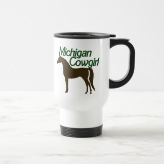 Michigan Cowgirl 15 Oz Stainless Steel Travel Mug