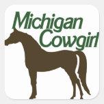 Michigan Cowgirl Square Stickers