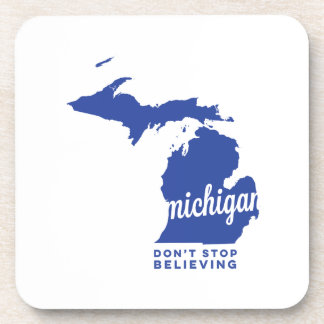 michigan | don't stop believing | blue beverage coaster