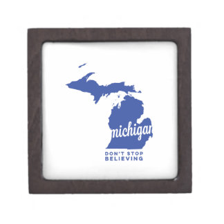 michigan | don't stop believing | blue gift box