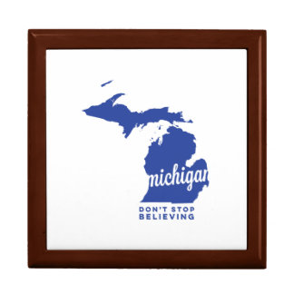 michigan | don't stop believing | blue keepsake box