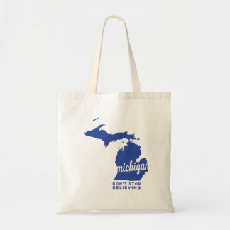 michigan | don't stop believing | blue tote bag
