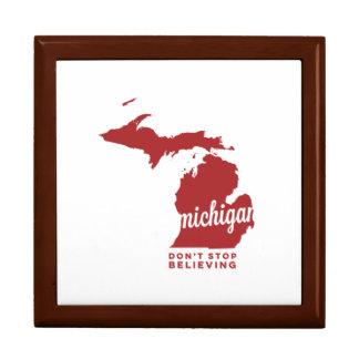 michigan | don't stop believing | crimson keepsake box