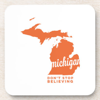 michigan | don't stop believing | orange drink coaster