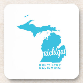 michigan | don't stop believing | sky blue beverage coaster