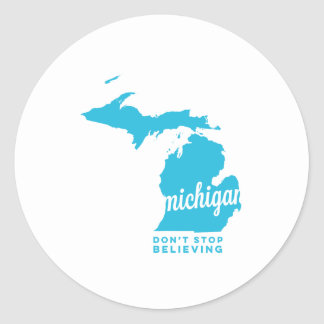 michigan | don't stop believing | sky blue classic round sticker