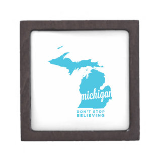 michigan | don't stop believing | sky blue gift box