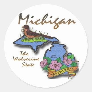 Michigan el petirrojo Apple del estado de Pegatina Redonda