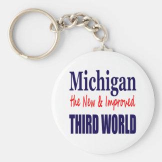 Michigan el TERCER MUNDO nuevo y mejorado Llavero Redondo Tipo Pin