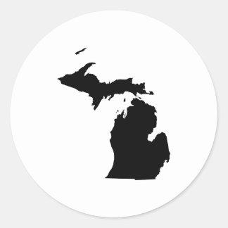 Michigan en blanco y negro etiqueta redonda