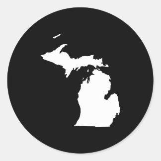 Michigan en blanco y negro pegatinas redondas