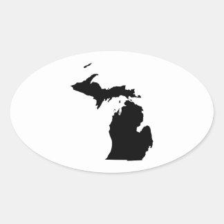 Michigan en blanco y negro pegatina ovalada