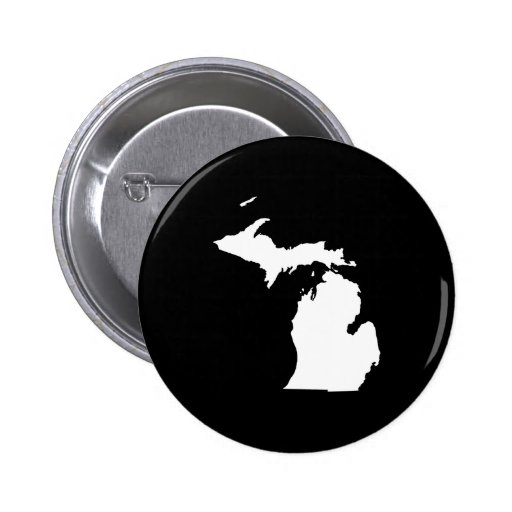 Michigan en blanco y negro pin redondo de 2 pulgadas