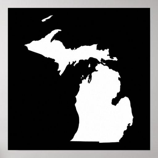 Michigan en blanco y negro poster