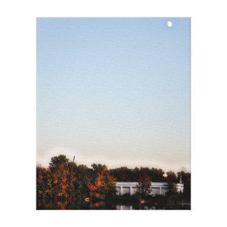 Michigan Fall and Full Moon Art Canvas Stretched Canvas Prints