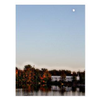 Michigan Fall and Full Moon Postcard
