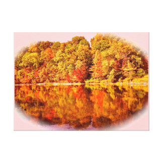 Michigan Fall by the Grand River Printed Canvas Stretched Canvas Print