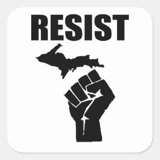 Michigan Fist RESIST Square Sticker