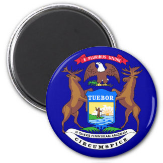 Michigan Flag 2 Inch Round Magnet