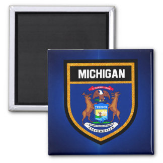 Michigan Flag 2 Inch Square Magnet