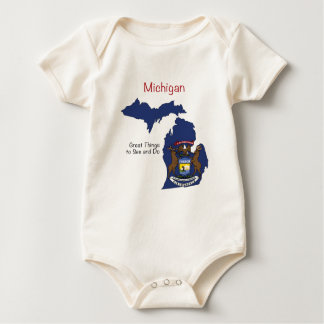 Michigan Flag and Map Baby Bodysuit