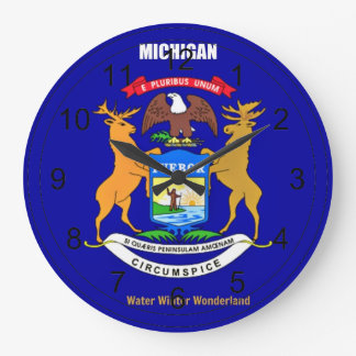 Michigan Flag and Slogan Large Clock