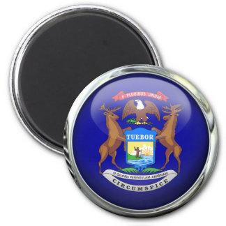 Michigan Flag Glass Ball 2 Inch Round Magnet