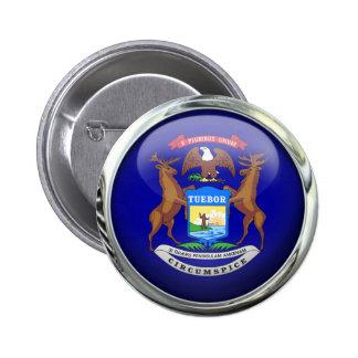 Michigan Flag Glass Ball Pinback Button