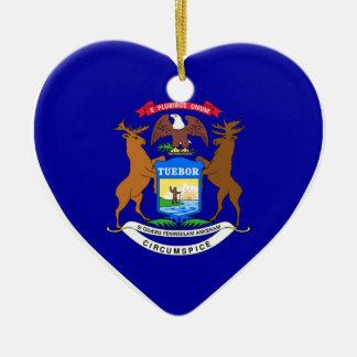Michigan Flag Heart Ceramic Ornament