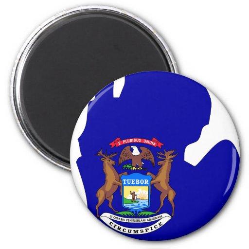 Michigan Flag Map 2 Inch Round Magnet