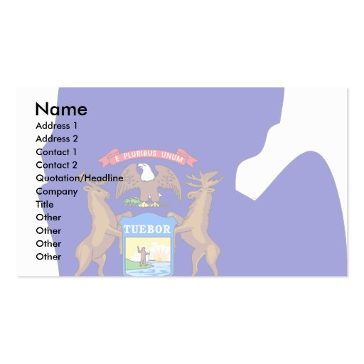 Michigan Flag Map Double-Sided Standard Business Cards (Pack Of 100)