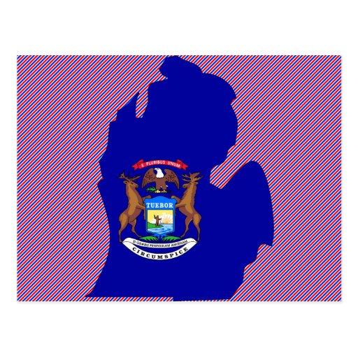 Michigan Flag Map Postcard