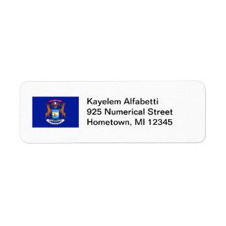 Michigan Flag Return Address Label