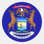 Michigan Flag Round Stickers