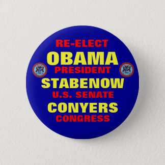 Michigan for Obama Stabenow Conyers Button