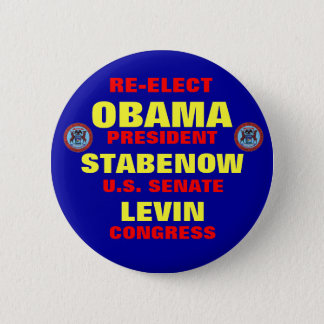 Michigan for Obama Stabenow Levin Pinback Button