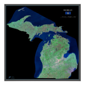Michigan from space satellite poster