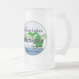 MICHIGAN FROSTED GLASS BEER MUG