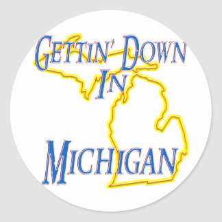 Michigan - Gettin' Down Classic Round Sticker