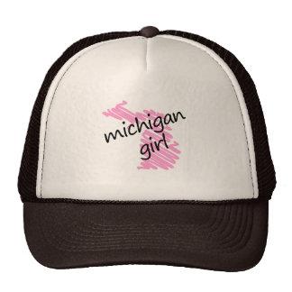 Michigan Girl with Scribbled Michigan Map Trucker Hat