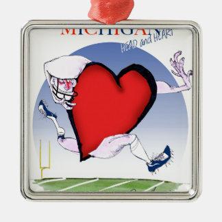 michigan head heart, tony fernandes metal ornament