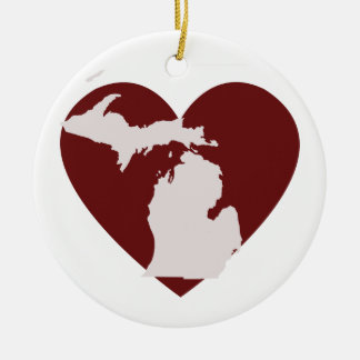 Michigan Heart Double-Sided Ceramic Round Christmas Ornament