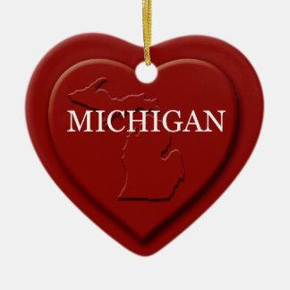 Michigan Heart Map Christmas Ornament