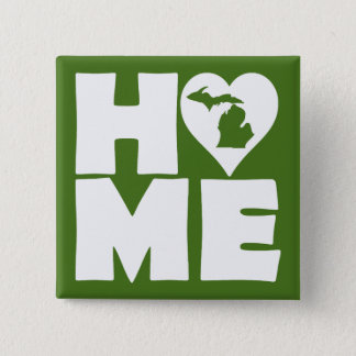Michigan Home Heart State Button Badge Pin