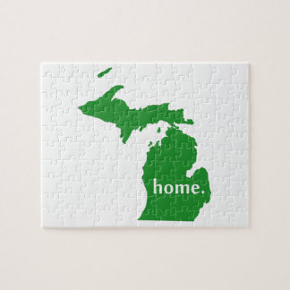 Michigan home silhouette state map jigsaw puzzle